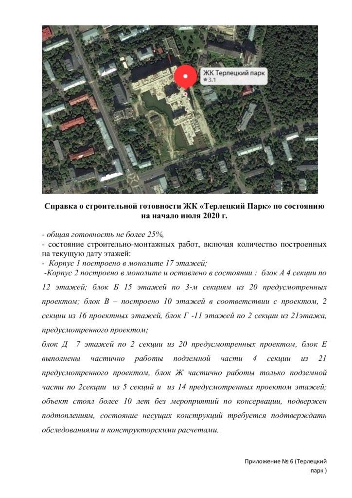 Справка о готовности ЖК Терлецкий парк
